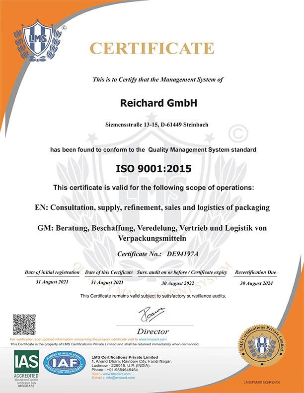 ISO 2001 Zertifikat
